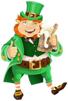 St Patricks Day Leprechaun with Beer Transparent PNG Clip Art Image