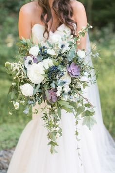 Anemone, peony and succulent wedding bouquet: Photography : Amy Rizzuto Photogra. Anemone, peony and succulent wedding bouquet: Photography : Amy Rizzuto Photography Lavender Bouquet, Purple Wedding Bouquets, Bride Bouquets, Floral Wedding, Wedding Colors, Trendy Wedding, Cascading Bridal Bouquets, Wedding Ideas, Wedding Photos