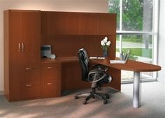 This Aberdeen series wall desk configuration with ample storage is perfect for smaller offices and looks fantastic.