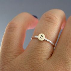 Custom Initial Ring, Sterling Silver, Brass, Or Copper, Choice Of 1 Personalized Ring on Etsy, $15.00