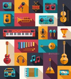 Set of Modern Flat Musical Instrument Icons - Objects Vectors