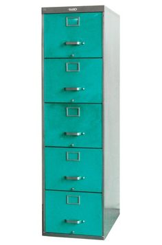 I thought of you. Take a look. Household basics that don't do boring! eclectic filing cabinets and carts by Twenty Gauge 5 Drawer File Cabinet, Steel Filing Cabinet, Filing Cabinets, Shared Home Offices, Steel Furniture, Refinished Furniture, Furniture Redo, Industrial Furniture, Painted Furniture