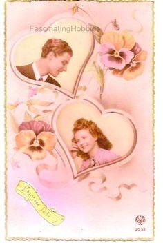 Vintage Postcard LOVERS HEARTS PANSIES Sweet par FascinatingHobbies