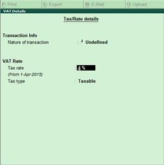 vat rate details in sales