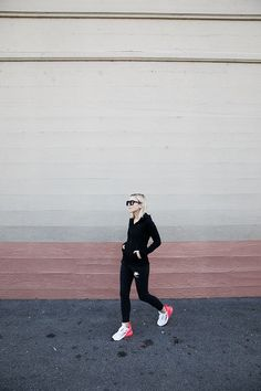 Nike Damsel in Dior: Make your morning workouts enjoyable by incorporating a fun pop of color to your head-to-toe black uniform. Air Max 270, Fashion Advice, Fashion Outfits, Head To Toe, Black Heels, Fitness Fashion, Color Pop, Nike Air Max, Latest Trends