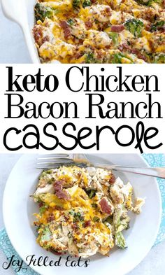 This casserole is a hit with kids and adults. It is quick, easy, and so comforting. With cooked chicken, bacon crumbles, and frozen broccoli you can g Low Carb Chicken Casserole, Chicken Bacon Ranch Casserole, Dinner Casserole Recipes, Low Carb Chicken Recipes, Low Carb Recipes, Diet Recipes, Healthy Recipes, Easy Healthy Casserole, Recipes Dinner