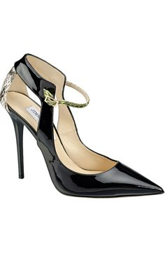 Jimmy Choo Mystic patent and gloss elaphe pointy toe pumps in black, natural and lime | 2014