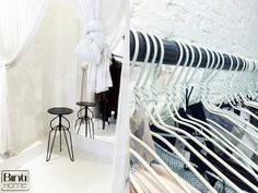 Cotton Cake Amsterdam, dressingroom, simple design, clotheshangers, white wired barefootstyling.com