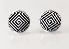 Black & White maze post earrrings,geometric stud earrings, glass jewelry, glass picture earrings by Glassfulldreams $12