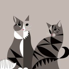 Abstract Cats (kind-of looks like my Tricot and Ellie...) by Eleanor Grosch