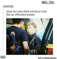"maybe someone asked him again if ""rap monster was the name his mama gave him""???"