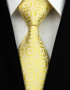 NT0039 Gold Lattice Jacquard Woven Classic Silk Man's Tie Necktie #NeckTie