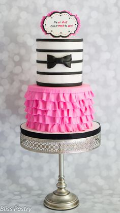 Tutu or Bow Tie Gender Reveal Cake