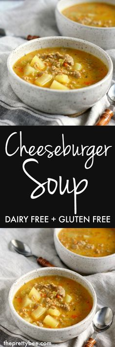 Cozy, comforting cheeseburger soup is dairy free, gluten free, and so tasty!