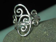 Sterling Silver Swirls Spirals Ring