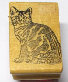 Serious sitting kitty cat rubber stamp sitting posing looking straight ahead pet #ClacritterDesigns #CatsFeline