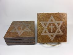 Shop for coasters on Etsy, the place to express your creativity through the buying and selling of handmade and vintage goods. Coaster Design, Coaster Set, Jews For Jesus, Slate Stone, Star Of David, Christianity, Decorative Boxes, Carving, Stars