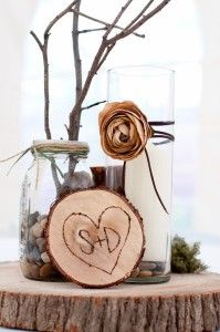 cute touch with the branches sticking out of mason jars!