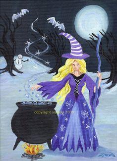 Snow Cauldron winter witch art reproduction snowman moon bats photo print etsy artist artbysarada