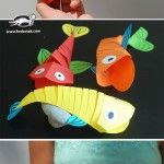 Moving fish - Makaila would have fun making these - I already have everything needed - construction paper, glue, and scissors. Preschool Crafts, Diy And Crafts, Crafts For Kids, Arts And Crafts, Paper Crafts, Paper Glue, Paper Fish, Summer Diy, Summer Crafts