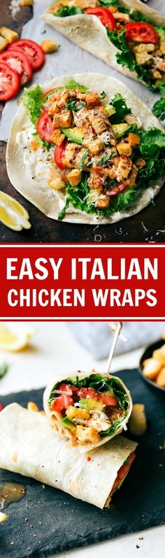 easiest Italian Chicken and Veggie Warps. SO tasty, so quick, and healthy! Recipe via The easiest Italian Chicken and Veggie Warps. SO tasty, so quick, and healthy! Veggie Wraps, Healthy Wraps, Healthy Snacks, Healthy Eating, Healthy Recipes, Healthy Chicken Wraps, Chicken Tenderloin Recipes Healthy, Chicken Tortilla Wraps, Chicken And Veggie Recipes