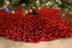 """60"""" Red Ruffles Tree Skirt."""