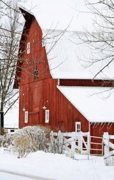 Farm Barn In Winter by Beddinginn-Reviews