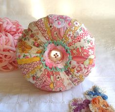 Pincushion, Shabby Chic Patchwork with Sweet Flower Fabrics