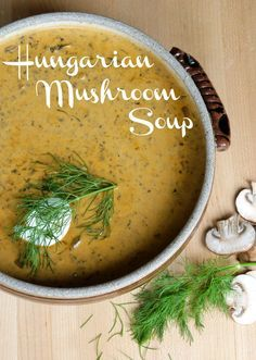 Hungarian Mushroom Soup. Will have to sub chives for onion and no soy sauce...