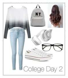 """""""College Day 2"""" by fashion-coma ❤ liked on Polyvore featuring Frame Denim, Joshua's, Beats by Dr. Dre, Converse, women's clothing, women, female, woman, misses and juniors"""