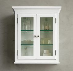 Mountain White Wooden Bathroom Wall Cabinets With Two Gl Doors Silver Ball Handles Grey