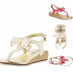 NEW Big Kids Girls MICHAEL KORS Perry Crysty Espadrille Sandal White, Pink 12-5Y…