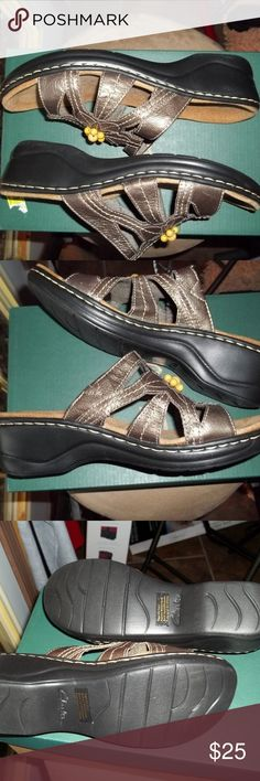 New Lexi Myrtle Sandals Clarks Sandals in Pewter color, never worn Clarks Shoes Sandals