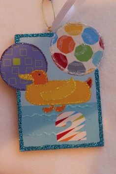 Precious Duck Kids Wood Slice Ornament Children Birthday Signed Lichtenstein