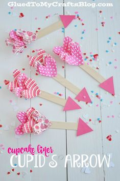 Cupcake Liner Cupid's Arrow – Kid Craft – Valentine's Day Valentine's Day Crafts For Kids, Valentine Crafts For Kids, Valentines Day Activities, Craft Projects For Kids, Homemade Valentines, Valentines Bricolage, Kinder Valentines, Valentines Day Party, Valentine Box