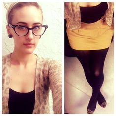 Lunch time #selfie. #ootd #highwaisted sailor #skirt, #tights and #bananarepublic #cardigan. #cateye #glasses from @bleudame. ⚓️ #fashion #bleudame #plugs #gauges