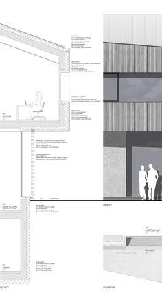 Fassadenschnitt und fassadenansicht 1 50 architektur - Skelettbau architektur ...
