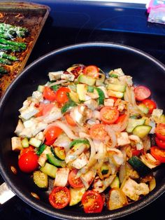 Healthy dinner- chicken, zucchini, onion, tomato....yum!!!
