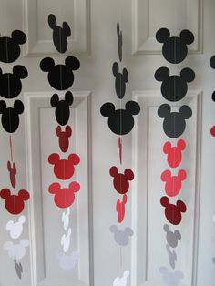 Black, Red, and White Mouse Style Garland Strand, Birthday Party Decorations, Mickey Mouse Themed Party Decorations