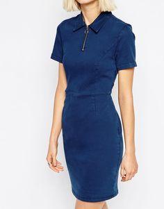 Image 3 ofASOS Denim Polo Neck T-Shirt Dress