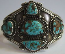 EXQUISITE WIDE VINTAGE NAVAJO INDIAN SILVER SPIDERWEB TURQUOISE CUFF BRACELET