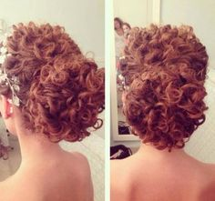 Hair Updos Curly Makeup 58 Ideas - All For New Hairstyles Curly Hair Updo Wedding, Short Curly Hair, Wedding Hair And Makeup, Wedding Hairstyles, Curly Hair Styles, Natural Hair Styles, Curly Up Do, Updo Curly, Formal Hairstyles