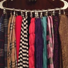 Scarf hanger! Shower curtain rings and a hanger, that's it :)