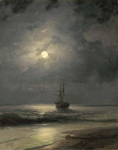 View A ship at anchor By Ivan Aivazovsky; Access more artwork lots and estimated & realized auction prices on MutualArt. Moonlight Painting, Classical Art, Russian Art, Ocean Art, Ship Art, Moon Art, Pretty Art, Monet, Oeuvre D'art