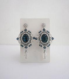 Silver beadwork earrings with Swarovski by AllushkaSoutache