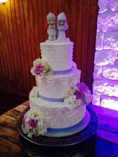 White and Lavender Wedding Cake