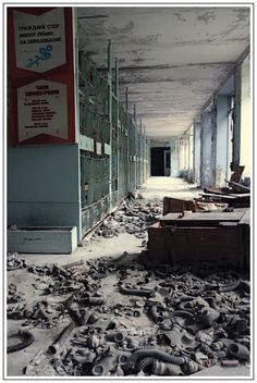 Inside of school near Chernobyl! Look at all the gas masks!!