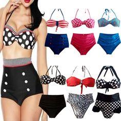 High Waist Bikini Sets RETRO Pinup Rockabilly Vintage Sexy Swimsuit Swimwear Push Up Bathing Suit Beachwear For Women #Affiliate