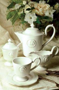coffe, tea set, french white teacups, tea time, white cameo