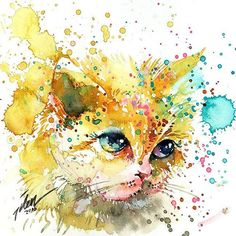 Painting is fun, no doubt. But, the splatter and drip painting technique is a whole lot of fun! No one does it better than Tilen Ti, a Malaysian artist living in Singapore. His paintings are vibran… Watercolor Art Paintings, Watercolor Cat, Watercolor Animals, Animal Paintings, Animal Drawings, Bright Paintings, Drip Painting, Art And Illustration, Watercolor Illustration